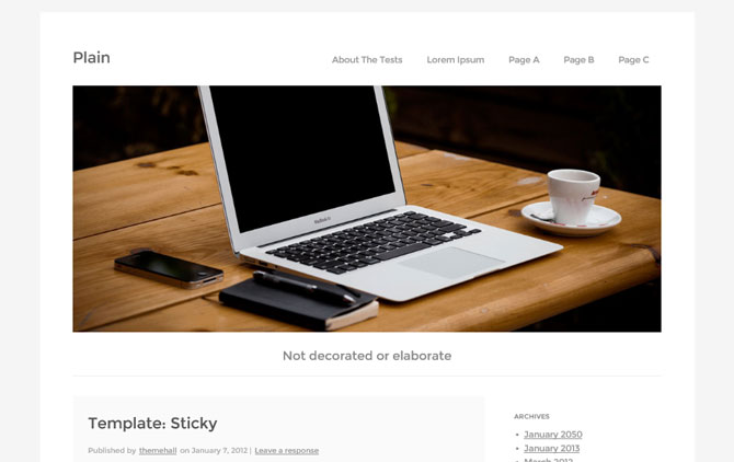plain Plain WP   Free Responsive WordPress Theme